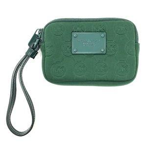 Michael kors green logo wristlet wallet coin purse